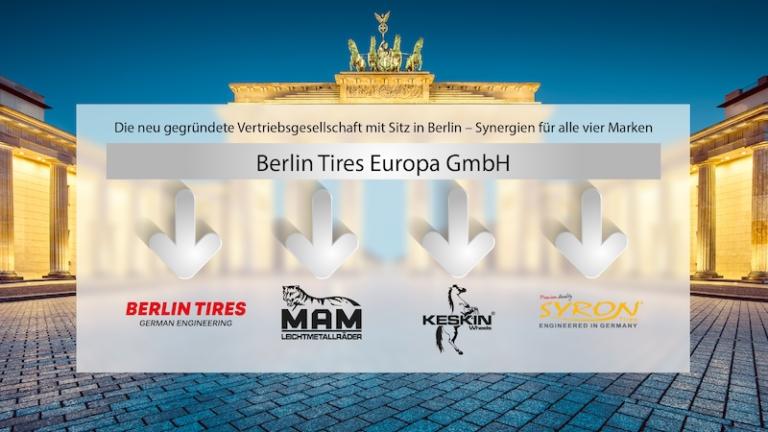 Berlin Tires Europa GmbH übernimmt die Marken SYRON TIRES/ KESKIN WHEELS/ MAM Leichtmetallräder/ BERLIN TIRES