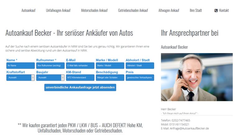 Auto verkaufen in Düsseldorf – Autoankauf Becker